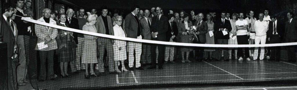 Opening Day 1981, Mrs Cochrane and Charles Lambert among the guests